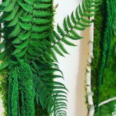 Панно з стабілізованого моху і папороті, амаранту і гілок берези